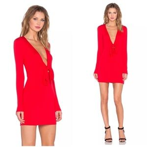 Revolve x Lovers + Friends Red Tie Front Dress S